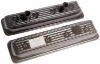 "604 GM Factory Parts - 604  Head & Components - Chevrolet Perormance Parts - 25534359 - GM ""Circle Track"" Center Bolt Valve Covers Small Block Chevy ,  Black Painted Sheet metal"