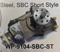 Cooling Parts - Fans - Jones Racing Fans - WP-9104-SBC-ST Steel, SBC Short Style Water Pump